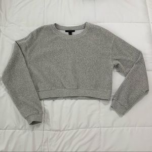 Cropped Gray Corduroy Sweater
